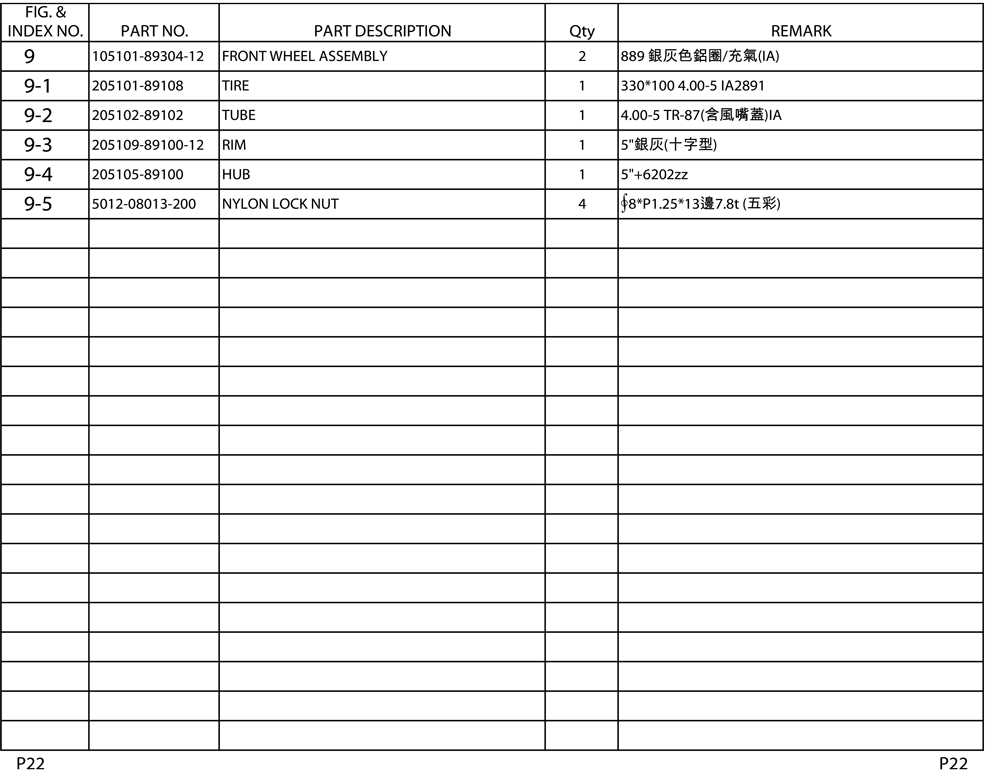 Shoprider Parts List - 0425