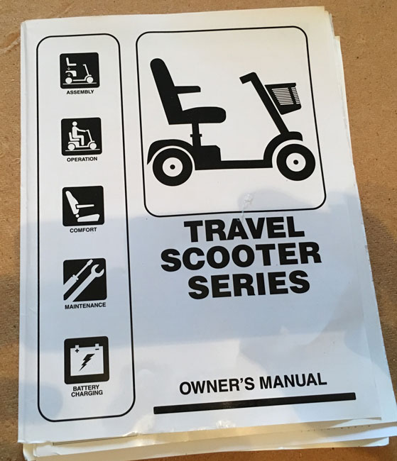 Used Owners Manual For A Pride Go Go Mobility Scooter T05