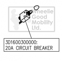 New Circuit Breaker 20amp For A Drive Medical Prism / Phoenix 3-Wheel Mobility Scooter